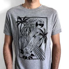 Parrot T-Shirt for men parrot printed shirt by hardtimesdesign