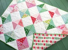 Modern baby quilt for baby girl / Pink & Green Blossom  on Etsy, $130.00