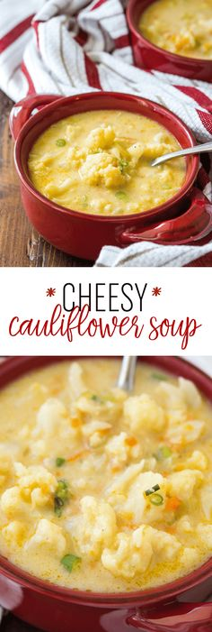 Cauliflower Soup Recipe - Delicious Cauliflower Soup Cheesy Cauliflower Soup Recipe - This creamy and flavorful soup will warm you up!Cheesy Cauliflower Soup Recipe - This creamy and flavorful soup will warm you up! Cheesy Cauliflower Soup, Cheesy Potato Soup, Cauliflower Soup Recipes, Califlower Cheese Soup, Califlower Recipes, Yummy Recipes, Vegetarian Recipes, Cooking Recipes, Yummy Food