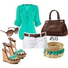 White shorts, lightweight turquoise top, brown belt and handbag, neutral wedges, and gold accessories.