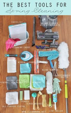 Your Tools Ready, set, clean! The Best Tools for Spring Cleaning via Clean MamaReady, set, clean! The Best Tools for Spring Cleaning via Clean Mama Deep Cleaning Tips, Cleaning Checklist, House Cleaning Tips, Cleaning Hacks, Cleaning Recipes, Cleaning Routines, Cleaning Lists, Cleaning Supply List, Diy Hacks