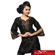Add a touch of exotic style to your wardrobe with a handmade kurti from India. This lovely women's tunic is crafted of georgette with 3/4-length sleeves.