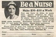 Chicago School of Nursing recruitment ad. The pay hasn't changed that much :/ History Of Nursing, Medical History, Nursing Recruitment, Nurse Aesthetic, Chicago School, Online Nursing Schools, Nurse Love, Hello Nurse, Nurse Pics