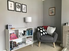 Newly decorated living room. Now painted in Dulux Chic Shadow. Shelving unit: Ikea Valje, Lamp: Dunelm.