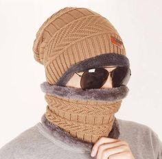 a97d47ffc2b wholesal 2pcs knit scarf cap neck warmer Winter Hats For Men women Outdoor  Baggy Beanies Fleece mask Knit hat