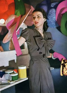 Hat shopping, 1940s black rayon dress day office casual cocktail bow short sleeves crepe gloves pink color photo print ad model magazine designer war era