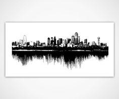 Dallas Skyline Art: Sounds of the City / Sound Wave Cityscape Design - Unique Texas Decor Created from Dallas Texas City Sounds