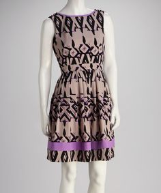 Take a look at this Purple Abstract Geometric Pleated Surplice Dress on zulily today!