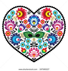 Polish folk art art heart embroidery with flowers - wzory łowickie, wycinanki by RedKoala #poland