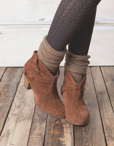 Ankle boots, cozy socks and patterned tights