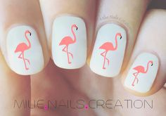 Flamingo Nail Decal by MilieNailsCreation on Etsy