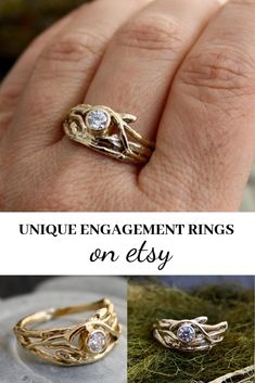 This twig motif engagement ring features an ethical Canadian Diamond and 14kt gold for a natural, organic, rustic look. Click to buy on Etsy.