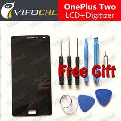 Oneplus two lcd ekran + dokunmatik ekran 100% iyi bir artı 2 için digitizer meclisi yedek aksesuarlar cep telefonu
