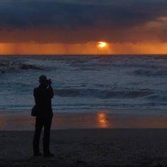 Painting a sunset on the beach near Agger, Denmark