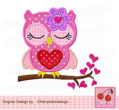Owl Valentine's Day Machine Embroidery Applique Design