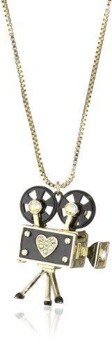 Betsey Johnson %22Film Noir%22 Vintage Camera Pendant Necklace Long Necklace