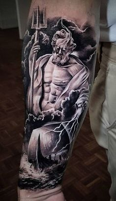 Realistic Tattoos with Morphing Effects by Benji Roketlauncha Poseidon tattoo © tattoo artist Benji_Roketlauncha Poseidon Tattoo, Zeus Tattoo, Tattoo Sleeve Designs, Sleeve Tattoos, Skull Tattoos, Body Art Tattoos, Greek Mythology Tattoos, Poseidon Greek Mythology, Norse Mythology Tattoo