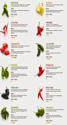 I love eat spicy food, but I never know the difference between all the chili peppers and which are the more spicy!   Here is a little expla...