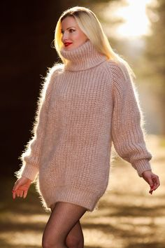 Beige Hand Knit Mohair Sweater Thick Ribbed Fuzzy Mens Pullover Supertanya s M L | eBay