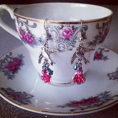 Dovette antique silver plated dove earrings