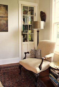 The wall color is Benjamin Moore Ashwood OC-47 in eggshell, with Benjamin Moore White Dove trim.
