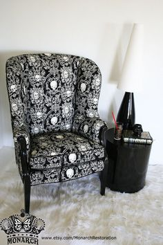 Elegant Gothic Skull Brocade Wing Back Vintage Victorian Parlor Chair - Make An Offer