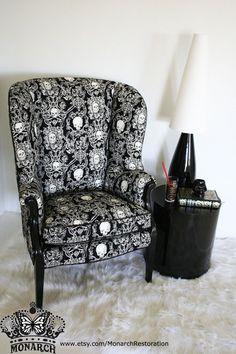 Elegant Gothic Skull Brocade Wing Back Vintage Victorian Parlor Chair - Make An Offer