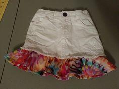 Added custom fabric ruffle to lil girls skirt Denim Skirts, Modest Outfits, Custom Fabric, White Shorts, Jeans, Girls, Handmade, Women, Fashion