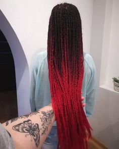 Here are 15 Hot Examples of Red Box Braids - Hairstyles Ombre Box Braids, Black Box Braids, Colored Box Braids, Big Box Braids, Box Braid Wig, Black Girl Braids, Box Braids Styling, Long Braids, Black Girl Braided Hairstyles
