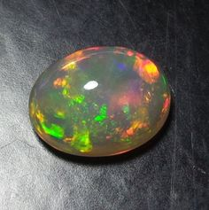 1.3 Cts Natural Ethiopian Welo Fire Play Opal 9x7 MM Cabochon Multi Color A40 #Unbranded