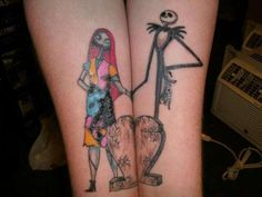 I could never pull this off, but I love this Jack and Sally Nightmare Before Christmas Couple Tattoo!