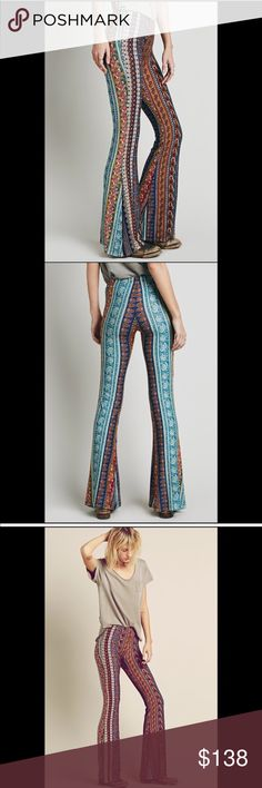 """Free People Novella Royale Bell Bottoms Handmade printed pull-on bell bottom pants in a rustic color combo. Stretchy elastic waist band. Fabric is lightweight with easy going stretch.  Rayon and spandex. 36"""" inseam (so you can pair with your fav platforms or clogs). Novella Royale brand for FP. Color: Morrocan Blue Free People Pants Boot Cut & Flare"""