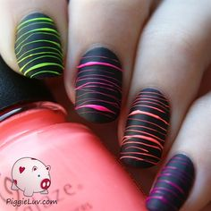 Neon sugar spun nails by PiggieLuv from Nail Art Gallery find more women fashion…