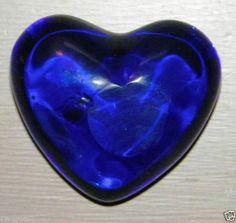 Cobalt Blue Glass Heart Paperweight-Deep Blue Glass