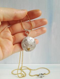 Moon Necklace, Pendant Necklace, Handmade Jewelry Designs, Full Moon, Pendants, Celestial, Sterling Silver, Chain, Metal