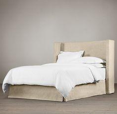 Belgian Shelter Slipcovered Headboard with Bed Skirt
