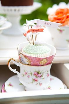 cupcakes in teacups |  #cupcakes #teacups