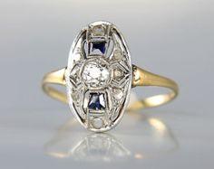 Antique Edwardian 18K Diamond Sapphire Ring engagement, art deco ring jewelry