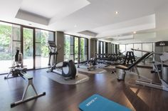 A private gym is provided for guests who don't want to kick-back 24-7.