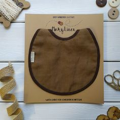 Linen baby bib with Hornet embroidery Boho cotton bib Baby gift set | Etsy | MaryLinen
