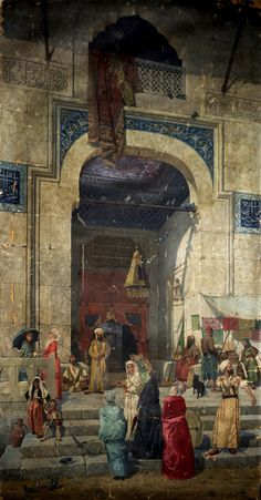 At the Mosque Door, 1891 painting by Osman Hamdi Bey Islamic Paintings, Old Paintings, Istanbul, Renoir, Empire Ottoman, Middle Eastern Art, Arabian Art, Old Egypt, Turkish Art