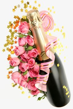 champagne rose festival, Champagne, Bottle, Flowers PNG Image and Clipart