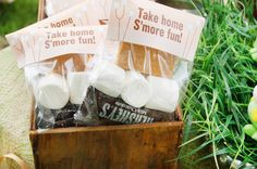 S'Mores Party Favor Bag Topper - Backyard Campout Take Home S'more Fun! - use the wording Camping Party Favors, Fall Party Favors, Camping Parties, Party Favor Bags, Wedding Favors, Western Party Favors, Wedding Ideas, Camping Themed Party, Sweet 16 Party Favors