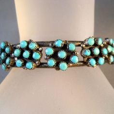Vintage Zuni Petit Point Bracelet  Sterling Silver Cuff from Suzy's Timeless Treasures on Ruby Lane