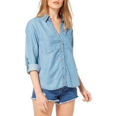 Miss Selfridge Open-Collar Soft Denim Shirt ($21) ❤ liked on Polyvore featuring tops, blue, long sleeve collared shirts, v-neck shirt, denim top, long-sleeve shirt and collared shirt