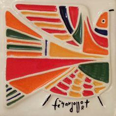 Ceramic tile designed by important El Salvador artist, Fernando Llort