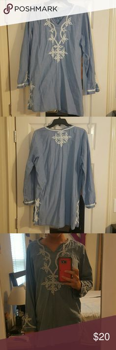 """Tunic Style Shirt 100% cotton, super light wieght. Embroidery around neckline, arm seems, and on side slit seams. Actual Stitching and material embroidery, it is not pressed on. I wore as shirt but someone shorter could possible wear as dress. 32"""" in length. Looks great with white pants. No rips, stains, tears, or wear. Sorrento Tops Blouses"""