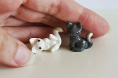 Two tiny miniature kittens Milk and Coal OOAK by MijbilCreatures