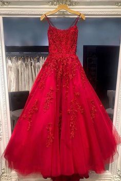 Princess Tulle Red Appliques Long Prom Dress T751 by sweetdressy, $166.50 USD Prom Dresses For Teens, Prom Dresses Blue, Prom Party Dresses, Ball Dresses, Homecoming Dresses, Ball Gowns, Formal Dresses, Grad Dresses, Long Dresses