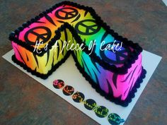 Number Seven Peace Sign Birthday Cake | Number Cake Zebra Print Airbrushed Buttercream